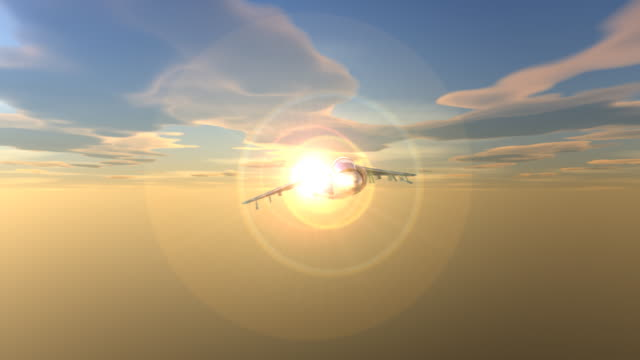 jet flighter sunset 4:4:4 1080i with alpha - silver colored stock videos & royalty-free footage