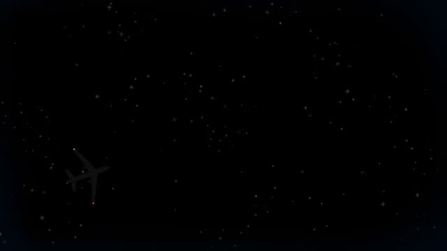 jet che volano nel cielo notturno (hd loop - inquadratura fissa video stock e b–roll
