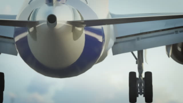 stockvideo's en b-roll-footage met jet landing with delicate sky - landen