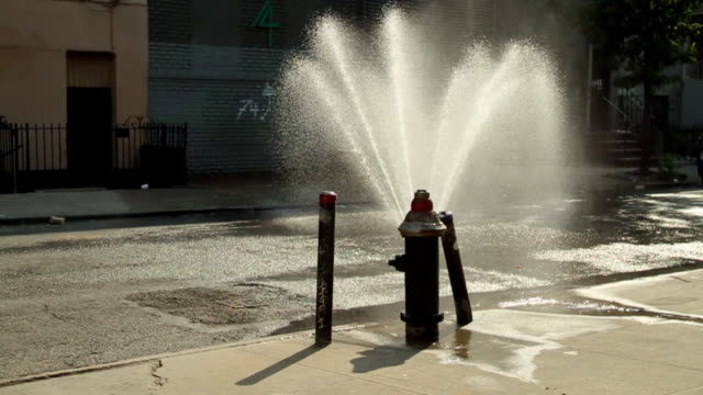 jet of water from a hydrant in brooklyn - fire hydrant stock videos & royalty-free footage