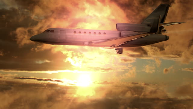 jet plane flying at sunset begins to crash - airplane crash stock videos and b-roll footage