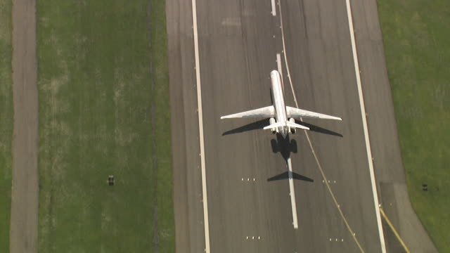 jet plane taking off at kennedy airport - runway stock videos and b-roll footage