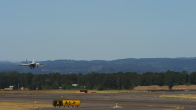 F-18 jet taking off