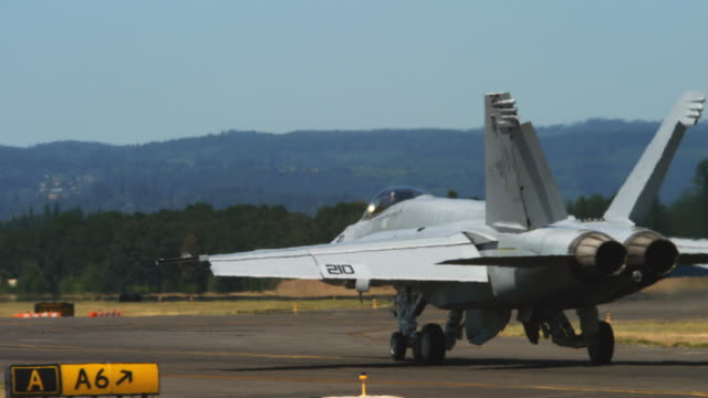 f-18 jet taxiing down runway - airshow stock videos & royalty-free footage