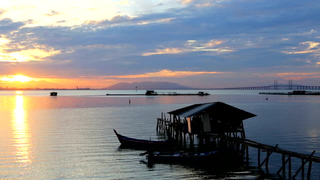 jetty georgetown penang island malaysia - penang bridge stock videos and b-roll footage