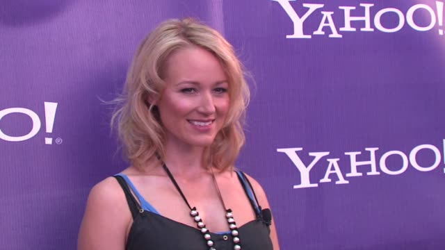 jewel at the yahoo kicks off global yodel competition with jewel and leann rimes at new york ny - yahoo brand name stock videos & royalty-free footage