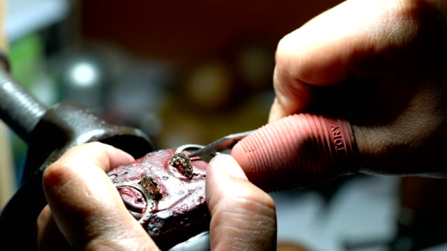 jeweller hand polishing ring - stone object stock videos & royalty-free footage
