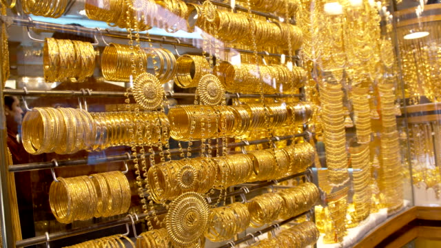 jewelry at dubai's gold souq - souk stock videos & royalty-free footage