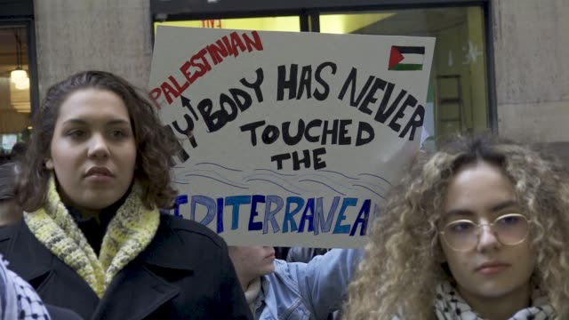 jewish and palestinian students rally and protest outside birthright israel's new york headquarters . the event was organized by jewish voice for... - educational event stock videos & royalty-free footage