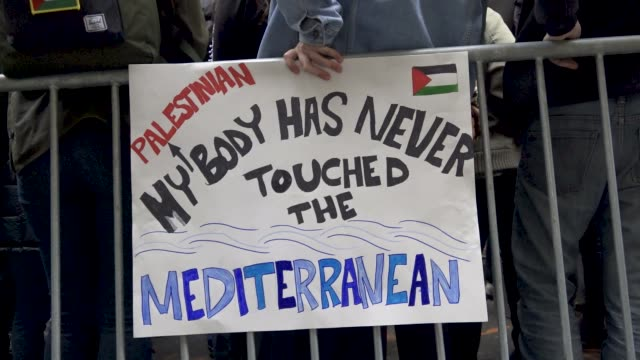 Jewish and Palestinian students rally and protest outside Birthright Israel's New York headquarters The event was organized by Jewish Voice for Peace...