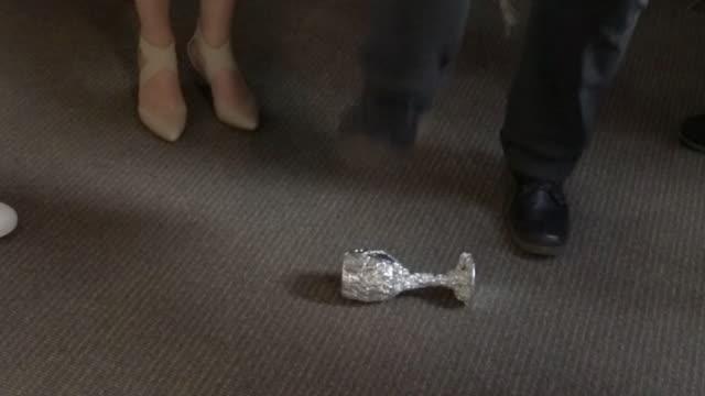 Jewish Bridegroom Breaks Glass in Orthodox Jewish Wedding Ceremony