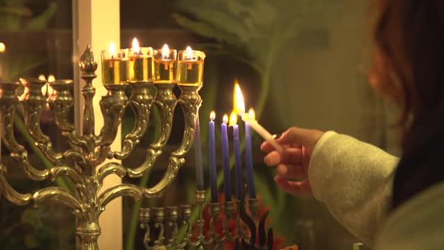 jewish candlestick - judaism stock videos & royalty-free footage