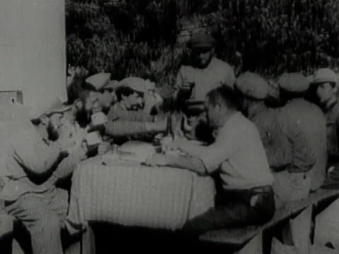 jewish colonists in palestine having dinner - judaism stock videos & royalty-free footage