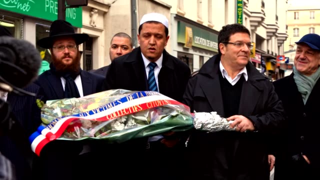 Jewish community from CRIF pay tribute to victims of both Charlie Hebdo and November 2015 terrorist attacks in Paris France