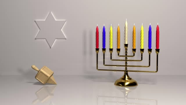 jewish holiday hanukkah background with golden menorah (loopable video) - advent stock videos & royalty-free footage