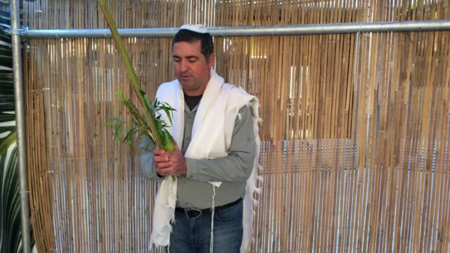 Jewish Man Blessing on the Four Species on the Jewish Festival of Sukkot