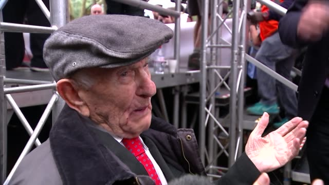jewish, muslim and left-wing groups commemorate the battle of cable street; reporter to camera max levitas setup shots and interview sot gloria... - communist flag stock videos & royalty-free footage