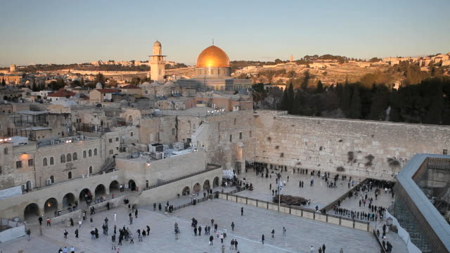 jewish quarter of the western wall plaza, old city, jerusalem, israel, middle east - minareto video stock e b–roll