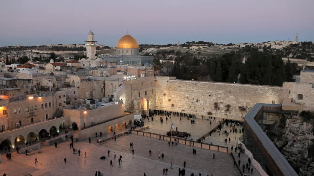 jewish quarter of the western wall plaza, old city, jerusalem, israel, middle east - twilight stock videos & royalty-free footage