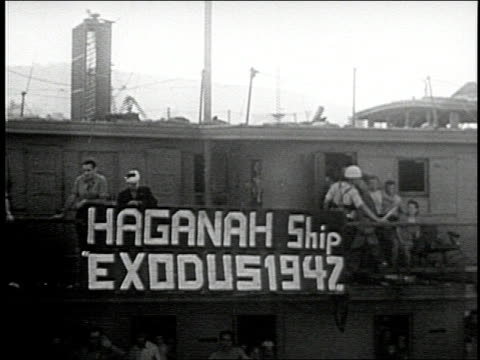 jewish refugees on ships are turned away from england and sent to internment camps on cyprus and malta - judaism stock-videos und b-roll-filmmaterial