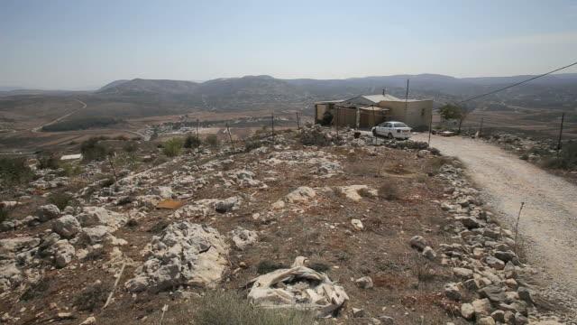 Jewish settlement outpost in samaria-Giv'at Sne Ya'akov located next to Arab vilages/Samaria, Palestine