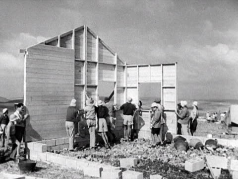 jewish settlers construct a kibbutz - 1948 stock videos & royalty-free footage