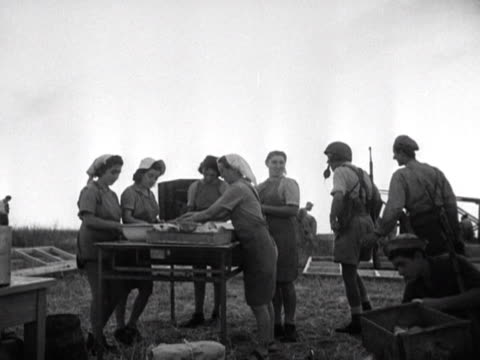 jewish settlers prepare food on a kibbutz - 1948 stock videos & royalty-free footage