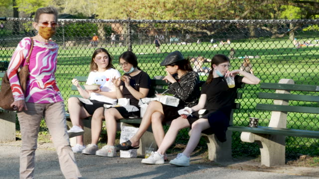 vídeos de stock e filmes b-roll de jewish young women sitting on a park bench. on a sunny day many people visited manhattan's central park amid the outbreak of the coronavirus disease... - banco assento