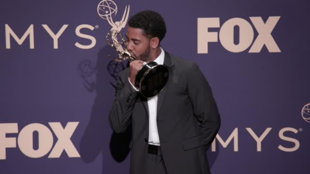 jharrel jerome at the 71st emmy awards press room at microsoft theater on september 22 2019 in los angeles california - emmy awards stock videos & royalty-free footage