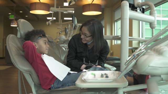 jib shot of a boy at a dentistry - jib shot stock videos & royalty-free footage