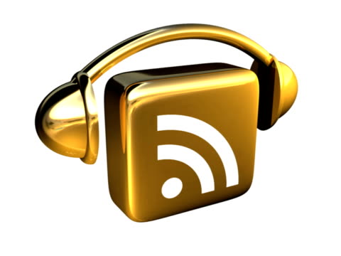 Jigging Gold Podcast Icon, Angled View - PAL