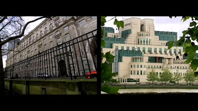 futher details about mohammed emwazi's background emerge; england: london: ext split screen buildings housing the headquarters of mi5 and mi6 - mi6点の映像素材/bロール