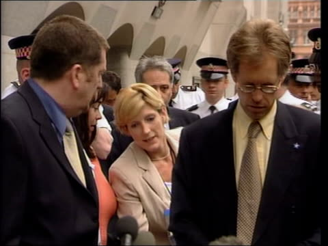 barry george found guilty itn england london high court nigel dando standing outside court along to microphones to speak to press nigel dando press... - jill dando stock videos and b-roll footage