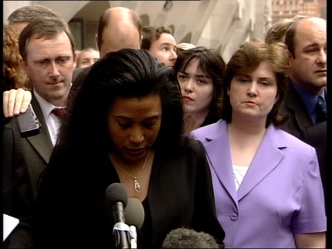 barry george found guilty marilyn etienne press conference sot barry george is innocent barry was charged with a terrible crime but he was never... - jill dando stock videos and b-roll footage