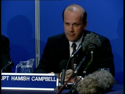 barry george profile int det supt hamish campbell taking press conference seat and sot we don't know what was the final factor which drove george to... - press room stock videos & royalty-free footage