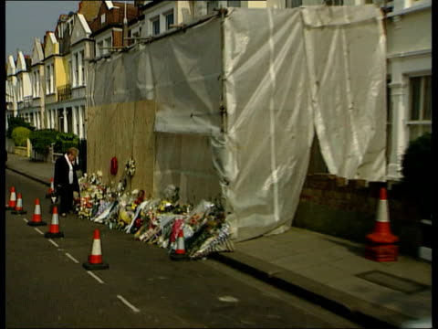 police release cctv pictures; itn fulham: ext gv distillery road where jill dando was seen driving home cms street sign 'distillery road' gv flowers... - jill dando stock videos & royalty-free footage