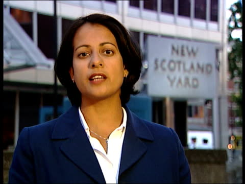 police release information about bullet; a)nn: shiulie ghosh england: london: new scotland yard: ext reporter to camera - jill dando stock videos & royalty-free footage