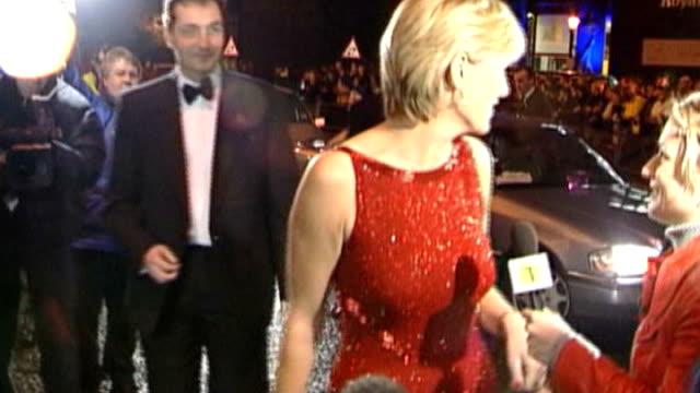 jill dando murder re-trial; ext/night jill dando arriving at awards ceremony in red dress - jill dando stock videos & royalty-free footage