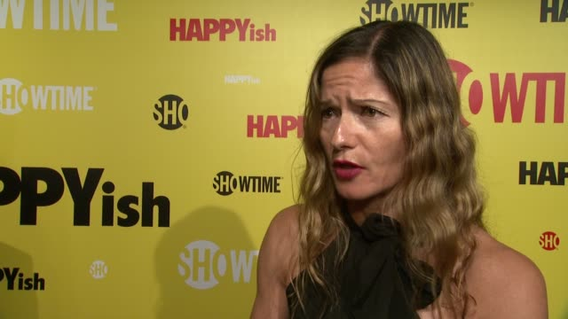 """jill hennessy talks about her love of kathryn hahn at the showtime premiere of the original comedy series """"happyish"""" at sunshine cinema on april 20,... - showtime video stock e b–roll"""