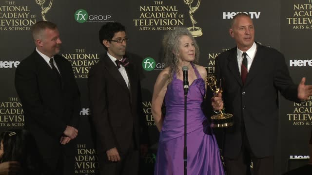 jill mitwell at the 2014 daytime emmy awards - press room at the beverly hilton hotel on june 22, 2014 in beverly hills, california. - the beverly hilton hotel点の映像素材/bロール