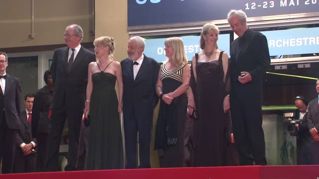 Jim Broadbent Lesley Manville director Mike Leigh Lesley Manville Ruth Sheen and producer Dick Pope at the Another Year Premiere Cannes 2010 Film...