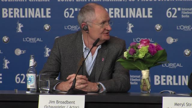 Jim Broadbent on Denis Thatcher Iron Lady Press Conference 62nd International Berlin Film Festival 2012 at the Grand Hyatt on February 14 2012 in...