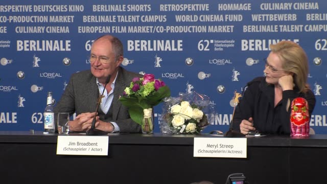Jim Broadbent on working with Meryl Streep at Iron Lady Press Conference 62nd International Berlin Film Festival 2012 at the Grand Hyatt on February...