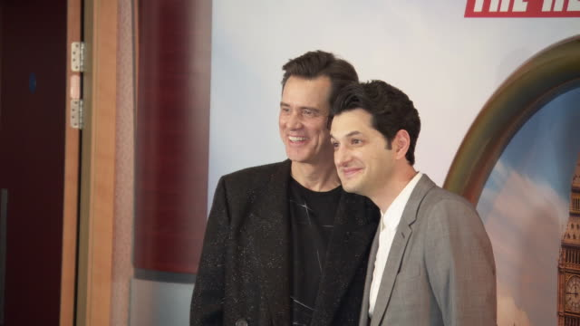 jim carrey and ben schwartz at 'sonic the hedgehog' gala screening at vue westfield on january 30 2020 in london england - gala stock videos & royalty-free footage