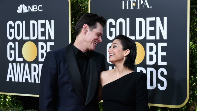 Jim Carrey and Ginger Gonzaga arrive to the 76th Annual Golden Globe Awards held at the Beverly Hilton Hotel on January 6 2019