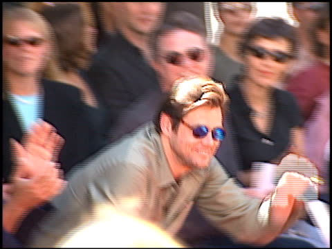 Jim Carrey at the Dedication of Nicolas Cage's footprints at Grauman's Chinese Theatre in Hollywood California on August 14 2001