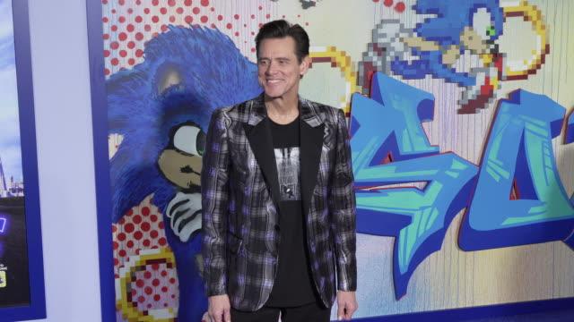 """vídeos y material grabado en eventos de stock de jim carrey at the """"sonic the hedgehog"""" special screening at regency village theatre on february 12, 2020 in westwood, california. - jim carrey"""