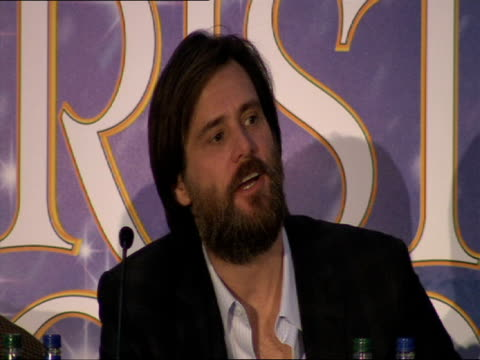 jim carrey on his favourite portrayal of scrooge alastair sim at the a christmas carol press conference at london england - ebenezer scrooge stock videos & royalty-free footage