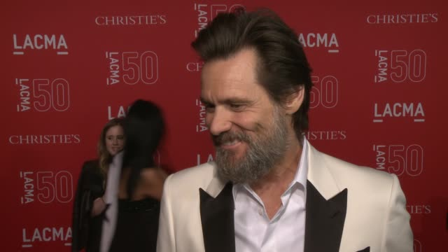 INTERVIEW Jim Carrey on the importance of LACMA on being at the event and on his early background in art at LACMA's 50th Anniversary Gala at LACMA on...