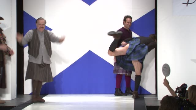 jim gaffigan, brian cox, chris noth and kiefer sutherland at the 9th annual dressed to kilt charity fashion show at new york ny. - kilt stock videos & royalty-free footage